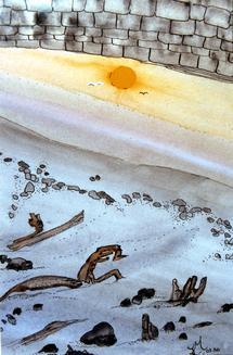 ESCAPE.      Aquarelle de Jacqueline Vidal-Atherly ( jacotte112@hotmail.com)